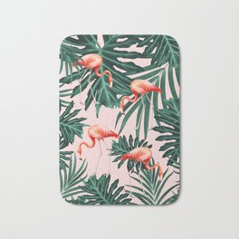 Summer Flamingo Jungle Vibes #1 #tropical #decor #art #society6 Bath Mat