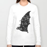 leather Long Sleeve T-shirts featuring Leather Wings by Rad Recorder