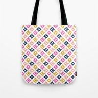 coachella Tote Bags featuring Southwest - native aztec geometric pattern print desert tribe festival clothes coachella  by CharlotteWinter
