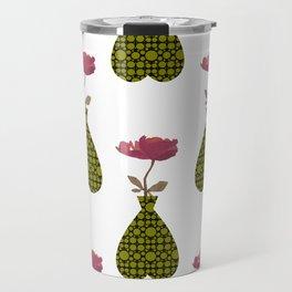 Green Patterned Vase With Magenta Flower Travel Mug
