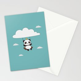 Kawaii Cute Panda In The Sky Stationery Cards