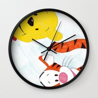 tigger Wall Clocks featuring winnie the pooh and tigger by Art_By_Sarah