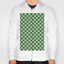 Tan Brown Checkered And Cadmium Green Modern Shape Geometric Pattern Hoody