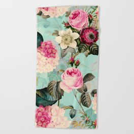 Vintage & Shabby Chic - Summer Teal Roses Flower Garden Beach Towel