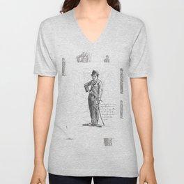Chaplin in Lines Unisex V-Neck