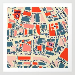 paris map blue Kunstdrucke