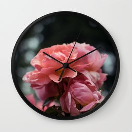 Roses and Raindrops: Peach Wall Clock