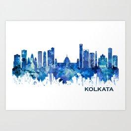 Kolkata West Bengal Skyline Blue Art Print