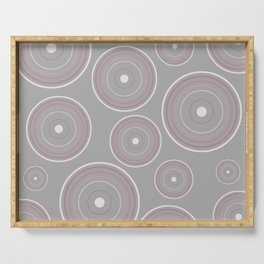 CONCENTRIC CIRCLES IN GREY (abstract pattern) Serving Tray