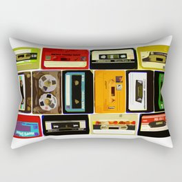 Retro Music Cassette Tapes - In Color Rectangular Pillow