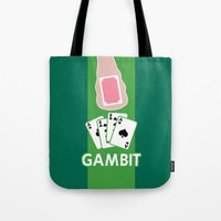 poker Tote Bags featuring Poker Face by Remix Comix
