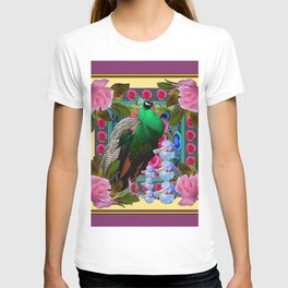 YELLOW-PUCE  PURPLE & PINK ROSES GREEN PEACOCK FLORAL T-shirt