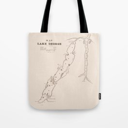 1853 Map of Lake George (sepia) Tote Bag