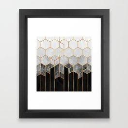 Charcoal Hexagons Framed Art Print