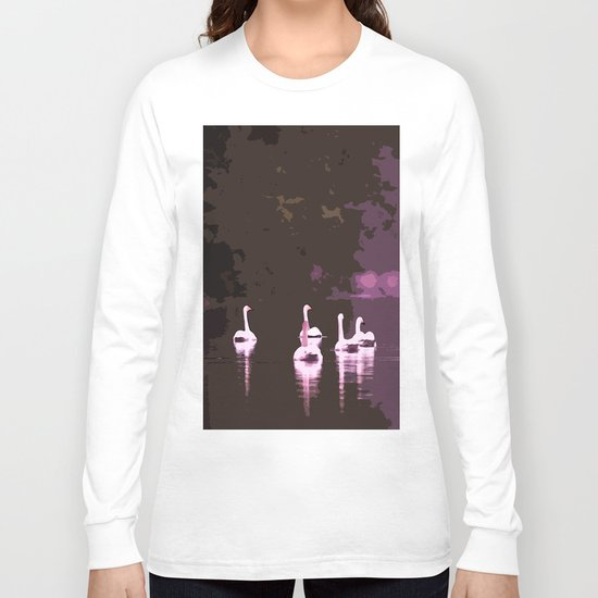 Beautiful reflection in the lake surface - shades of light pink to dark Long Sleeve T-shirt