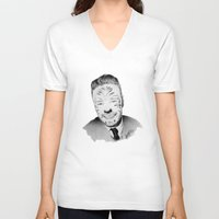 liam payne V-neck T-shirts featuring Liam Payne with painted face by Drawpassionn