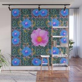 PINK  ROSE & BLUE MORNING GLORIES  BOTANICAL ART Wall Mural
