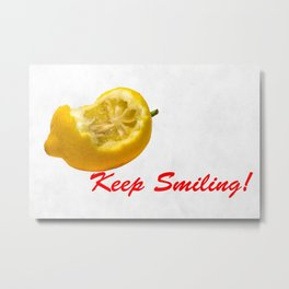 Lemon composition Keep Smiling! Metal Print
