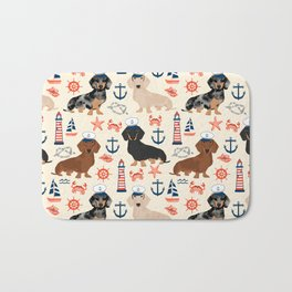 Dachshund nautical sailor dog pet portraits dog costumes dog breed pattern custom gifts Bath Mat