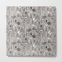Books: Through the rabbit hole_Warm Gray Metal Print