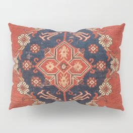 Southwest Tuscan Shapes I // 18th Century Aged Dark Blue Redish Yellow Colorful Ornate Rug Pattern Pillow Sham