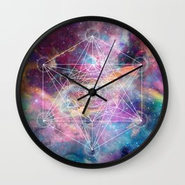 Watercolor and nebula sacred geometry  Wall Clock