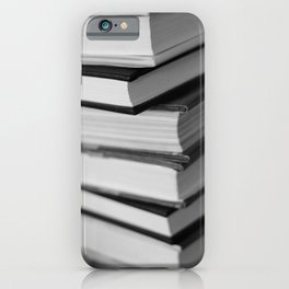 6 Books In A Stack in black and white iPhone Case