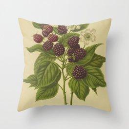 Botanical Blackberries Throw Pillow