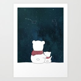 Watching the sky, at night. Watercolor and ink. Art Print
