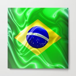 Brazil Flag Waving Silk Fabric Metal Print
