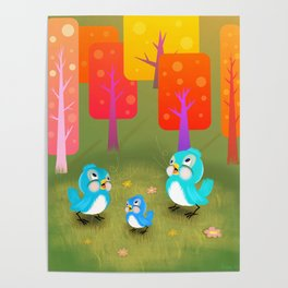Happy Little Bluebirds Sing Their Song Poster
