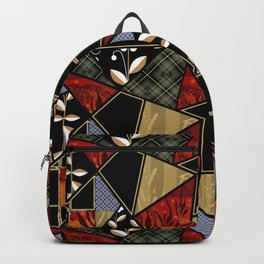 A complex patchwork in black and orange colors . Backpack