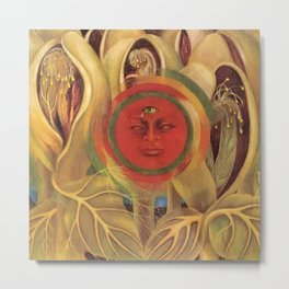 Sun and life portrait by Frida Kahlo Metal Print
