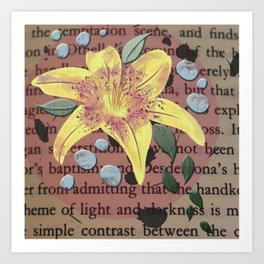Yellow Lily and Pearls on Vintage Paper Art Print