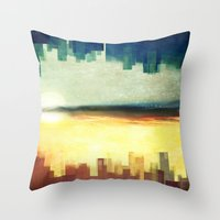 cities Throw Pillows featuring Parallel cities by SensualPatterns