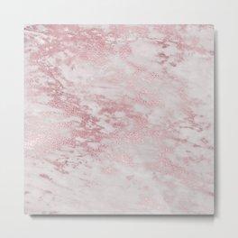 Rose Gold Blush Metal Veined Marble Metal Print