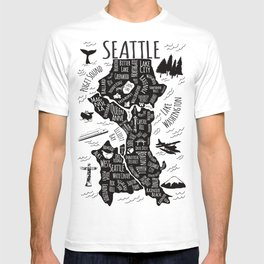 Seattle Illustrated Map in Black and White - Single Print T-shirt