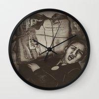 newspaper Wall Clocks featuring Newspaper Boy by Marie Pier Cadorette