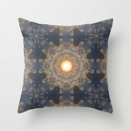 Blue yellow mandala Throw Pillow