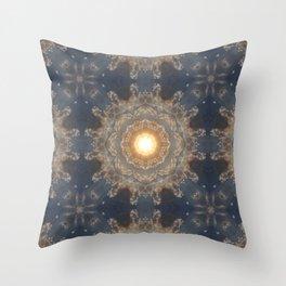 Blue yellow mandala Throw Pillow
