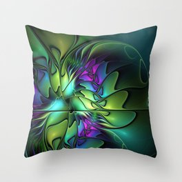 Colorful And Abstract Fractal Fantasy Throw Pillow