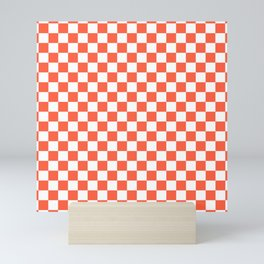 Jumbo Living Coral Color of the Year Orange and White Checkerboard Mini Art Print