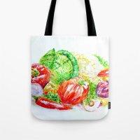 vegetables Tote Bags featuring Vegetables by LiliyaChernaya