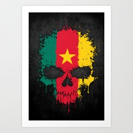 Flag of Cameroon on a Chaotic Splatter Skull Art Print