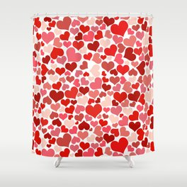 Love, Romance, Hearts - Red White Shower Curtain
