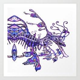 Leafy Seadragon II original illustration by Sheridon Rayment. Art Print