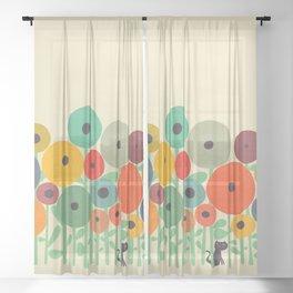 Cat in flower garden Sheer Curtain