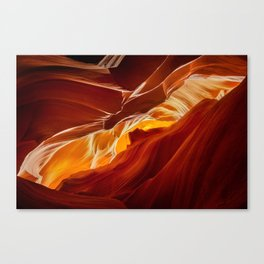 Upper Antelope Canyon - View of Monument Valley Canvas Print
