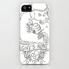 honey badger in grey iPhone Case