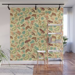 Gecko family in yellow Wall Mural